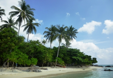 The beautiful Gelam beach located on the promontory of the island of Java Karimun 版權商用圖片