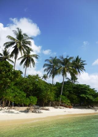 The beautiful Gelam beach located on the promontory of the island of Java Karimun 免版税图像
