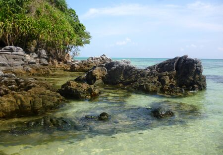 crossings: The beautiful Gelam beach located on the promontory of the island of Java Karimun Stock Photo