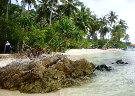 promontory: The beautiful Gelam beach located on the promontory of the island of Java Karimun Stock Photo