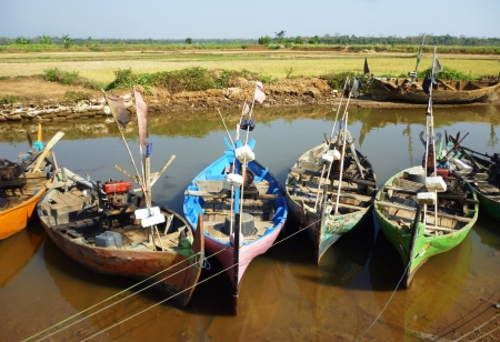 boats resting in the bondo beach, jepara, central java,  Indonesia photo