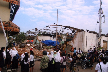 Yogyakarta, INDONESIA - FEBRUARY 19  number of buildings and infrastructure ravaged by a tornado in the early morning, February 19, 2007 in Yogyakarta, Indonesia