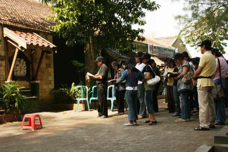 faiths: YOGYAKARTA-JUNE 15  Christian faiths prayed together in the courtyard of the temple church Ganjuran on June 15, 2008 in Yogyakarta Editorial