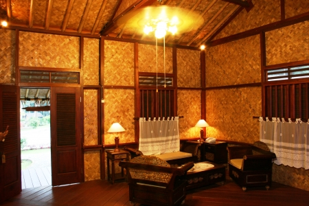 living room in a cottage in Cirebon, West Java, Indonesia