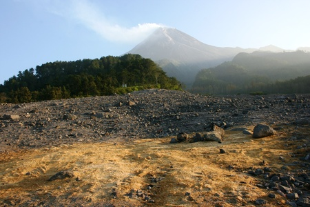 jogjakarta:  Mount Merapi-One of the world s most active volcanoes in java, Indonesia, emitting smoke and gas from its summit