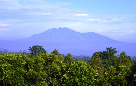 Mount merbabu One of the most beautiful volcanoes in Java, Indonesia photo