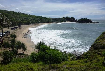 crossings: Klayar beautiful beach in the district of Pacitan, east java, Indonesia Stock Photo