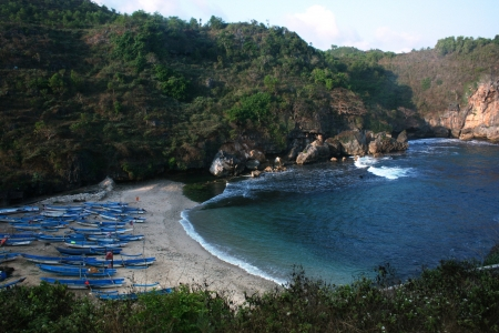 gesing beautiful beach in the district of Gunungkidul, Yogyakarta, Indonesia photo