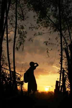 showed: silhouette of a boy who showed expression of adventure and triumph