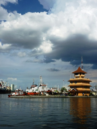 atmosphere harbor tanjung mas semarang, central java, Indonesia 免版税图像