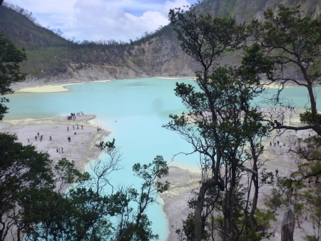 a beautiful scene and visitor from crater Kawah Putih in ciwedey, bandung, west java