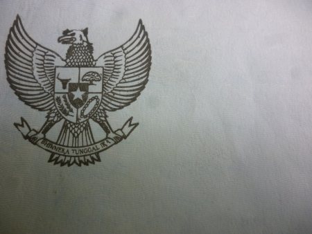 Garuda Pancasila symbol on a paper  in Indonesia country