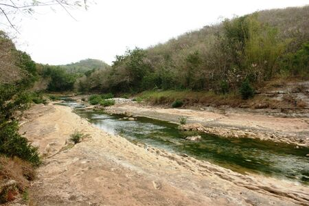 sedimentation: Oyo river in the area Gunungkidul Yogyakarta is one of the chalky white river in its banks are formed due to sedimentation Stock Photo
