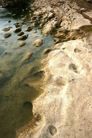 chalky: Oyo river in the area Gunungkidul Yogyakarta is one of the chalky white river in its banks are formed due to sedimentation Stock Photo