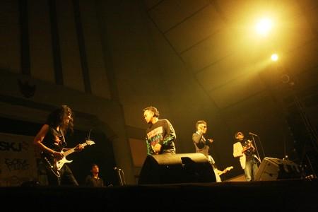 performace: dangdut music performance very crowded on stage entertainment, Yogyakarta, Indonesia