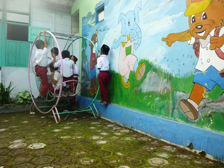 Happy School Children Play on the school page