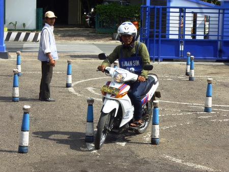 manufacture of a driver s license office, looking bikers who want to have permission to try through the test Editorial