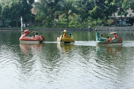Citayam reservoir  with a variety of fishing and leisure activities in Depok , West Java