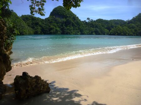 segoro anakan beach located in sempu island, Malang, East Java, Indonesia photo