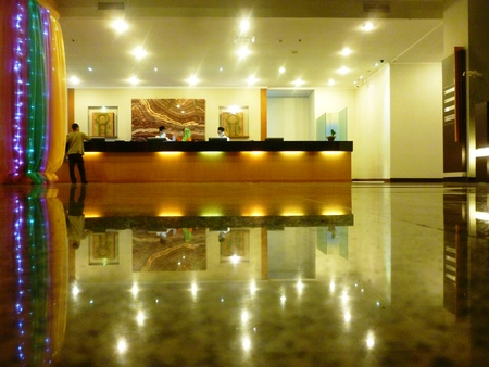 view and reflection Luxury Hotel lobby reception area