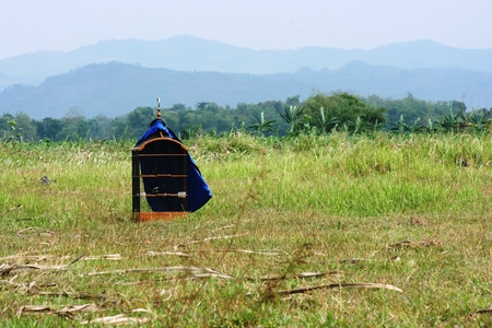 iron barred: bird cage placed in the grass with hills background