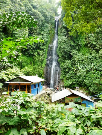 going places: scenic waterfall in Kudus, central Java, Indonesia Stock Photo