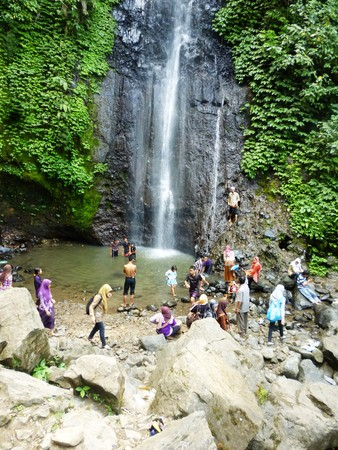 going places: scenic waterfall in Kudus, central Java, Indonesia Editorial