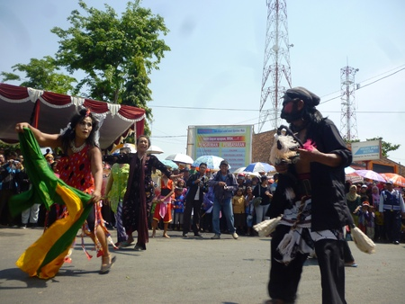 ethnicities: BLORA, INDONESIA - November 1, 2014: archipelago barongan festival held royally by presenting various types barongan of various ethnicities and tribes on November 1, 2014 in Indonesia.