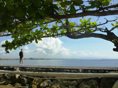 climate morning: Bali Sanur Beach at morning climate and activity