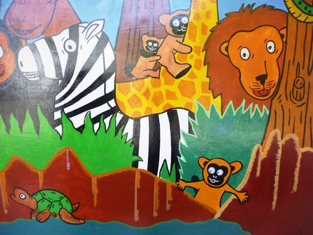 illustration of a zoo and the animals in a beautiful nature on the wall illustration