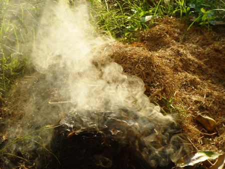 Plants plastic and hazardous meterials on fire emitting toxic and poisoinous fumes and polluting environment in indonesia