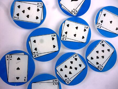 earns: round playing poker coins isolated white background
