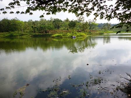 cinta: View of Bukit cinta Dam under blue sky Taken at Bukit cinta reservoir Blora central Java Indonesia