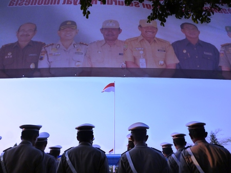 ceremonial: indonesian police from back in ceremonial event