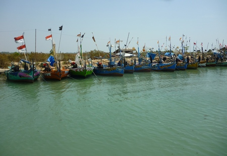 stranded: Stranded boats Stock Photo