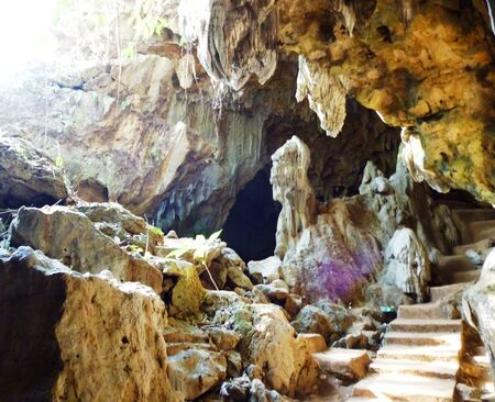 natural landmark: Inside a famous natural landmark cave in Indonesia Pati Central Java Stock Photo