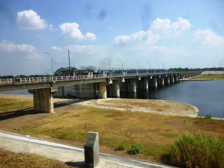 bengawan solo River under the long bridge flow, Bojonegoro, east java, Indonesia