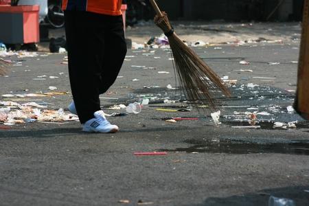custodian: Street Sweeper Sweeping Pavement in Blora, central java, indonesia Editorial