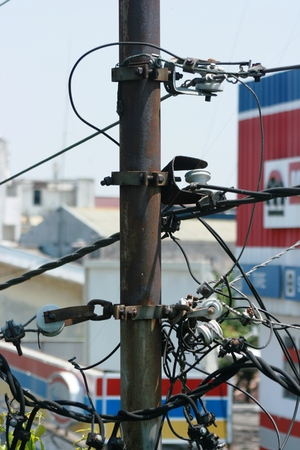 power failure: detail of the electrical system of the power plant on the street to produce electricity