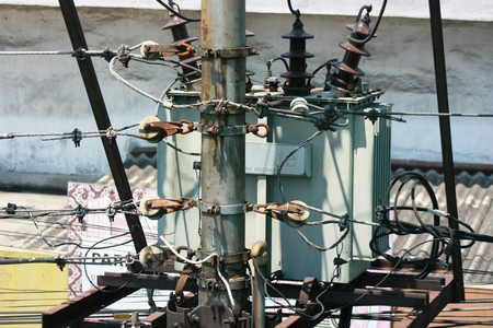 electrical system: detail of the electrical system of the power plant on the street to produce electricity