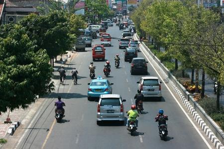 urban scene: Traffic jam Cars Urban scene in semarang , central java, indonesia Editorial