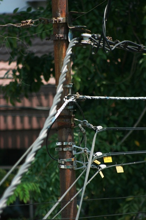 industrail: detail of the electrical system of the power plant on the street to produce electricity