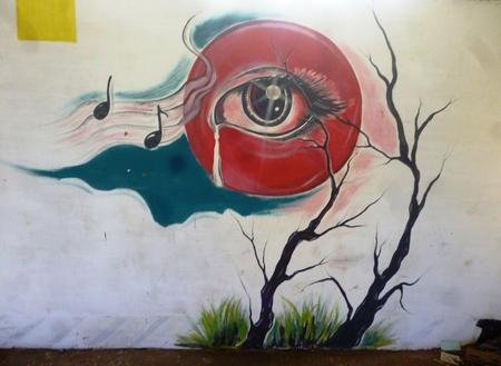human eye: Human eye graffiti in town