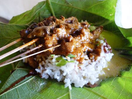 a close up chicken satay, roasted meat skewer indonesia food. Traditional indonesia food. Hot and spicy indonesian dish, Asian cuisine