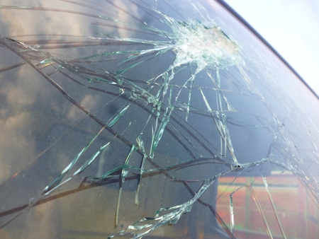 shattered: Shattered Glass Window of a Car after an Accident