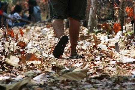 shoeless: Light step barefoot on the ground Stock Photo