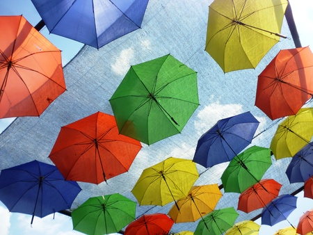 not give: sky umbrellas give a guarantee that the rain will not spoil the day, in restaurant, Indonesia. Stock Photo