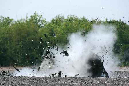 gush: Mud volcanoe splashing with high speed in bledug kuwu, Grobogan, Indonesia