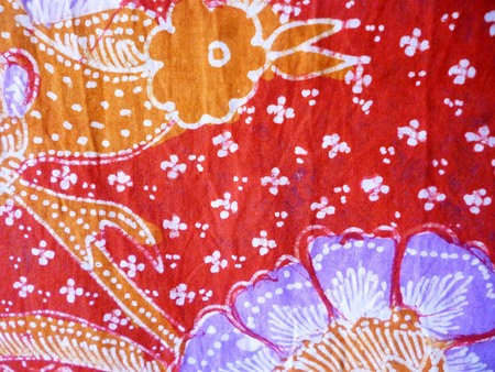 south east asian: close up shot of a batik hand stamp print with it its intricasy in the design motif batik is commonly worn in lasem, Rembang,Central Java, indonesia, south east asian