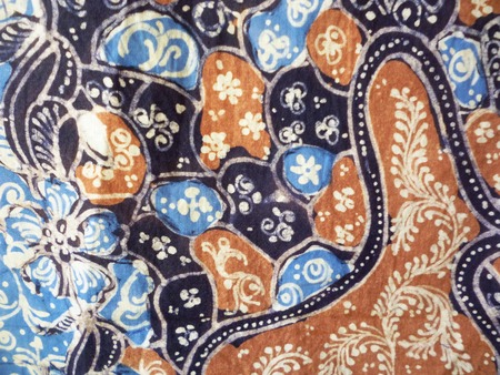 batik motif: close up shot of a batik hand stamp print with it its intricasy in the design motif batik is commonly worn in lasem, Rembang,Central Java, indonesia, south east asian